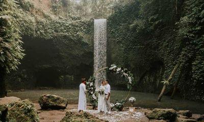 Leyla and Abylay's Intimate Elopement at Tibumana Waterfall, Bali