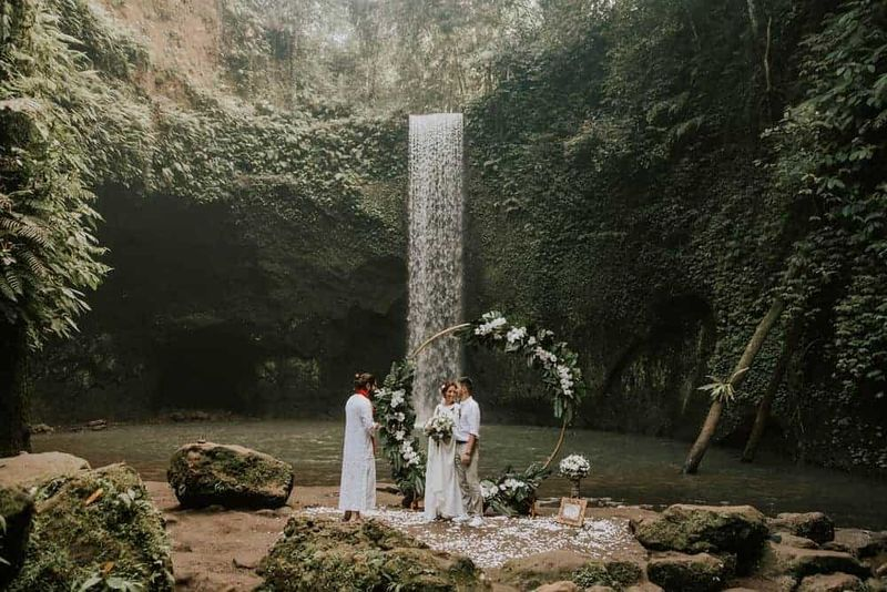 Leyla and Abylay's Intimate Elopement at Tibumana Waterfall, Bali